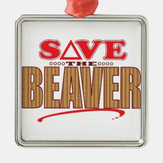 Beaver Save Silver-Colored Square Decoration