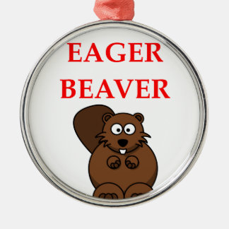 BEAVER Silver-Colored ROUND DECORATION