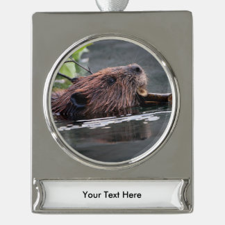 beaver silver plated banner ornament