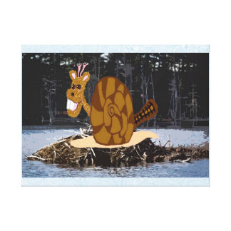 Beaver Snail At His Beaver Snail Dam Stretched Canvas Prints