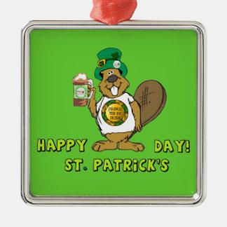 Beaver - St. Patrick's Day Silver-Colored Square Decoration