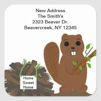 Beaver with Dam New Address Stickers