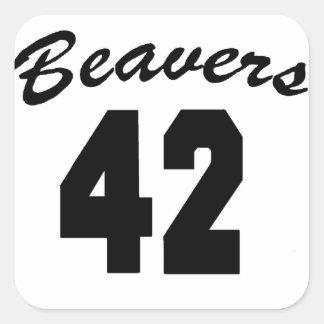 Beavers #42 square sticker