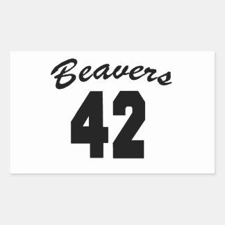 Beavers #42 rectangular sticker