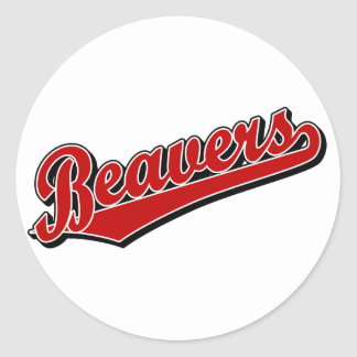 Beavers in Red Classic Round Sticker