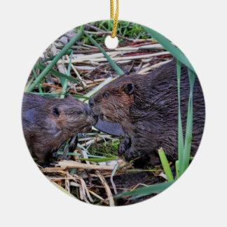 Beavers Kissing Photo Round Ceramic Decoration