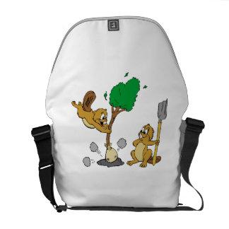Beavers Planting Tree Messenger Bags