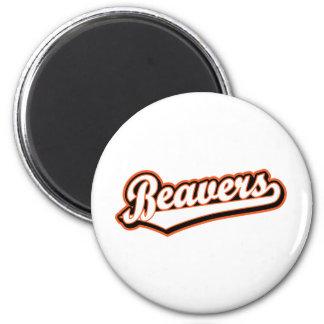 Beavers script logo in white and orange magnet
