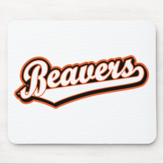 Beavers script logo in white and orange mouse pad
