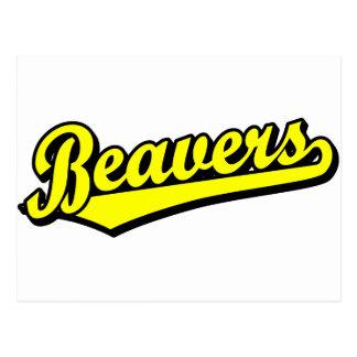 Beavers script logo in yellow postcard