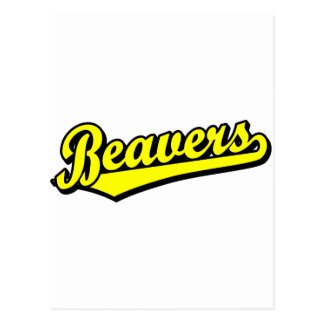 Beavers script logo in yellow post cards