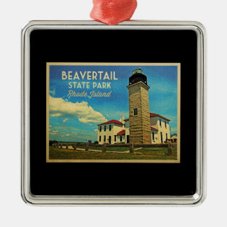 Beavertail Lighthouse Rhode Island Silver-Colored Square Decoration