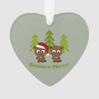 Beavery Merry Christmas Beaver Couple