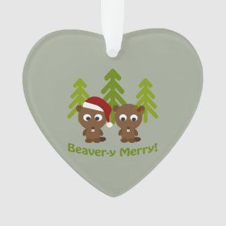 Beavery Merry Christmas Beaver Couple Ornament