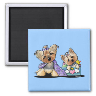 Bebe and Jolie Square Magnet