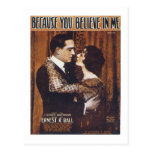 Becase You Believe in Me Vintage Songbook Cover Postcards