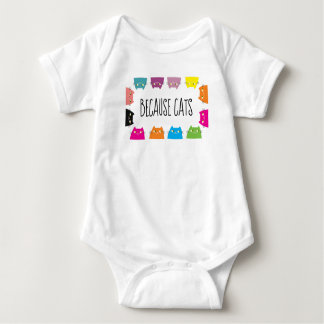 Because Cats Neon Vibrant Colors Funny Cute Modern Baby Bodysuit