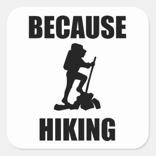 Because Hiking Square Sticker