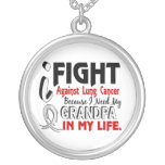 Because I Need My Grandpa Lung Cancer Round Pendant Necklace