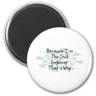 Because I'm the Civil Engineer 6 Cm Round Magnet