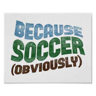 Because Soccer Poster Funny Soccer Player Art