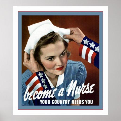 Become A Nurse ~ Vintage Nurse Poster