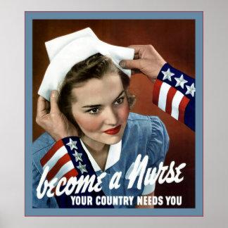 Become A Nurse Vintage Nurse Posters