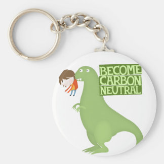 become carbon neutral basic round button key ring