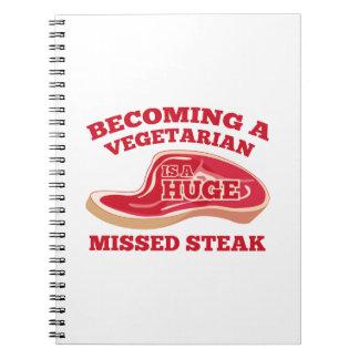 Becoming A Vegetarian Is A Huge Missed Steak Spiral Notebook