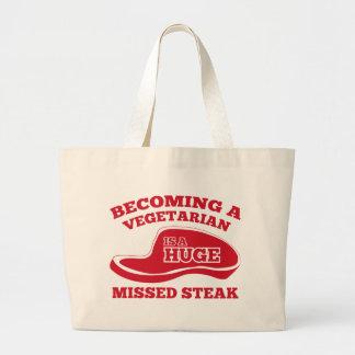 Becoming A Vegetarian Is A Huge Missed Steak Jumbo Tote Bag