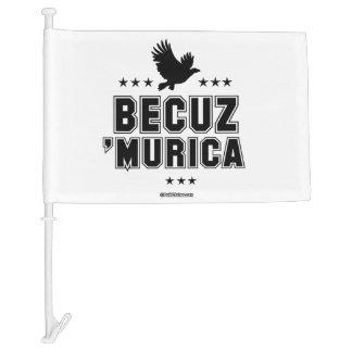 Becuz 'Murica - eagle flight Car Flag