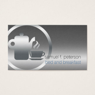 Bed and Breakfast Chrome Coffee Pot Cup Icon Food Business Card