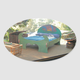 BED ON THE ROOF OVAL STICKER
