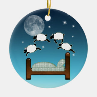 Bed, Sky, & Counting Sheep at Night Christmas Ornament