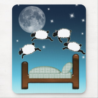 Bed, Sky, & Counting Sheep at Night Mouse Pad