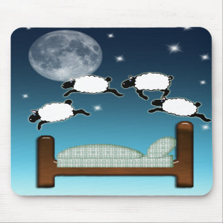 Bed Sky Counting Sheep at Night Mouse Pad