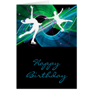 Bedazzled Figure Skaters Ice Skating Greeting Card