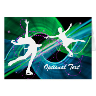 Bedazzled Ice Figure Skaters - Customizable Greeting Card