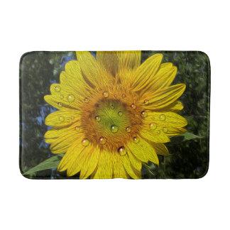 Bedewed Sunflower Bath Mat