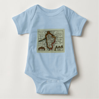Bedfordshire County Map, England Baby Bodysuit