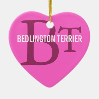 Bedlington Terrier Breed Monogram Ceramic Heart Decoration