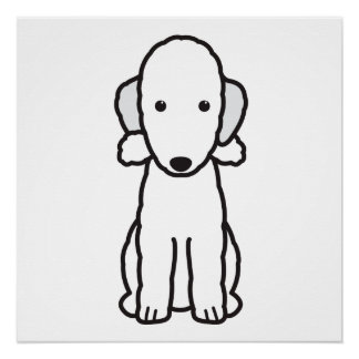 Bedlington Terrier Dog Cartoon Poster