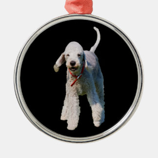 Bedlington Terrier dog cute beautiful photo Silver-Colored Round Decoration