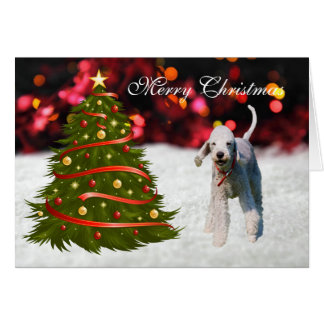 Bedlington Terrier dog tree custom Christmas Card