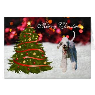 Bedlington Terrier dog tree custom Christmas Card