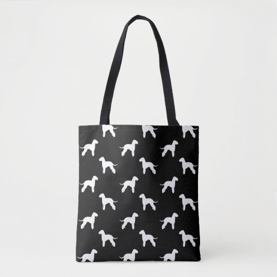 Bedlington Terrier Silhouettes Pattern Grey Tote Bag