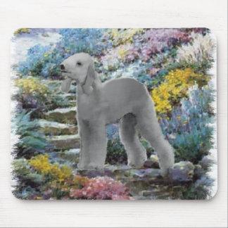Bedlington Terrier Summer Garden Art Mouse Pad