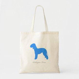 Bedlington Terrier Tote Bag (blue silhouette)