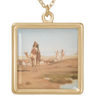 Bedouin in the Desert, 1884 (oil on canvas) Gold Plated Necklace