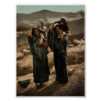 Bedouins and children outside tent, Holy Land rare Poster